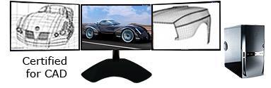 3 Monitor CAD Computer