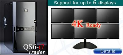 QuadStation 6 display trading computer with 4k / 5k